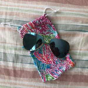 Lilly Pulitzer Gold Aviator Sunglasses